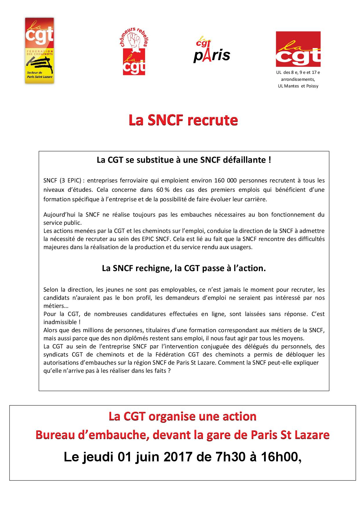 la sncf recrute la cgt se substitue une sncf. Black Bedroom Furniture Sets. Home Design Ideas